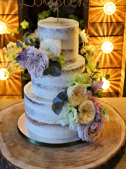 Semi-naked Wedding Cake with David Austin Roses