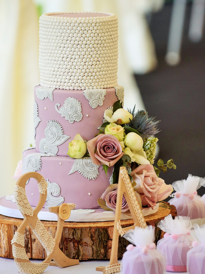 Romantic Lace and Pearl Wedding Cake