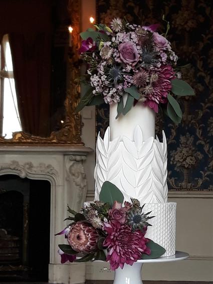Classic Modern White Wedding Cake