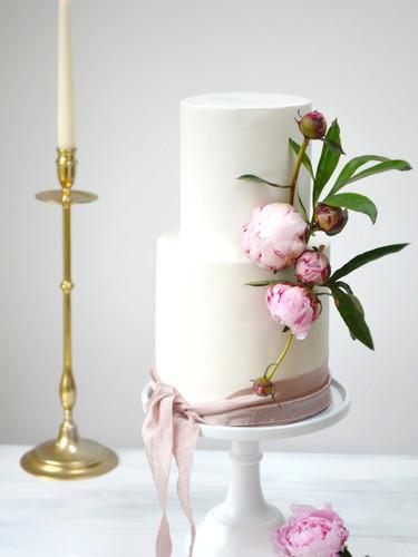 Raspberry & white peonies wedding cake.J