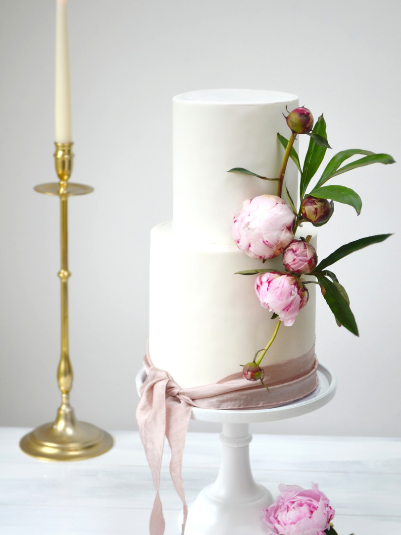 Raspberry & white peonies wedding cake.J