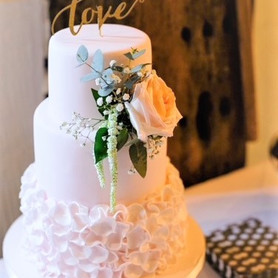 Blush Pink Ruffle Wedding Cake