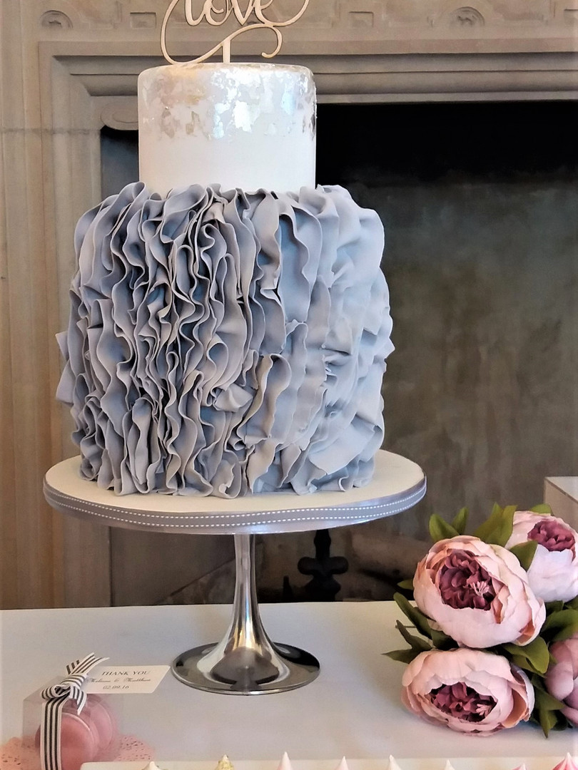 Modern Soft Grey Ruffle Wedding Cake