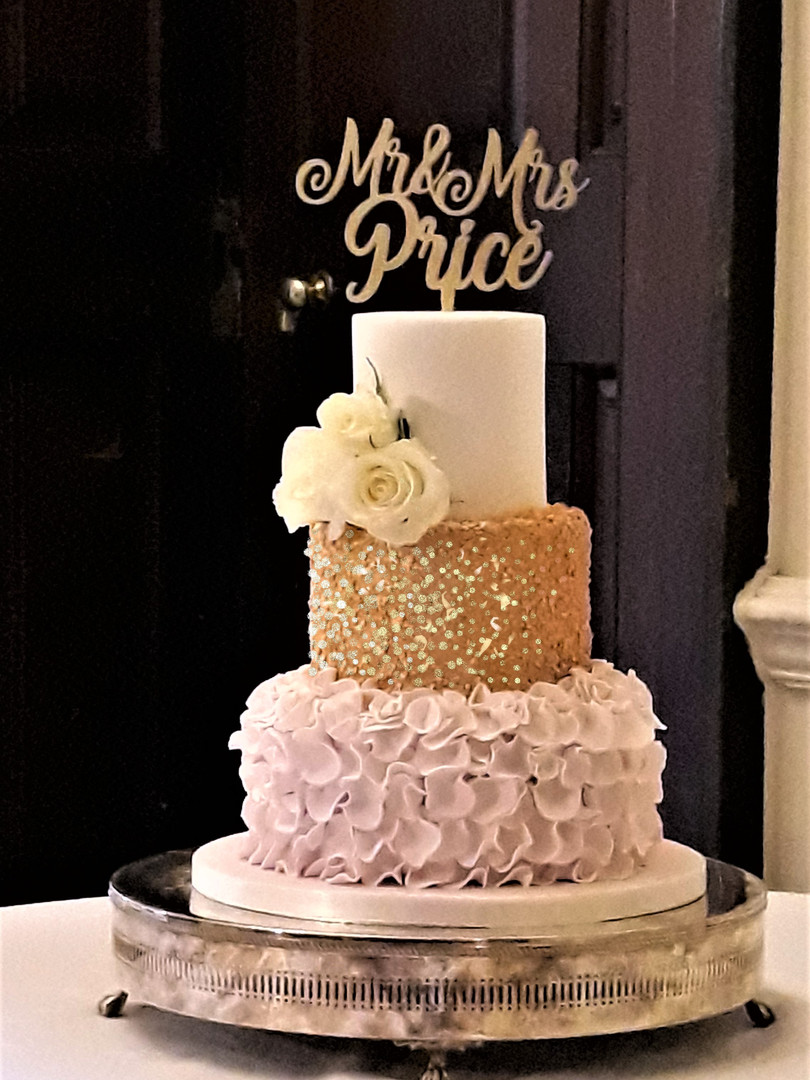 Blush Pink and Gold Sequin Wedding cake