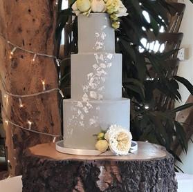 soft grey buttercream wedding cake with