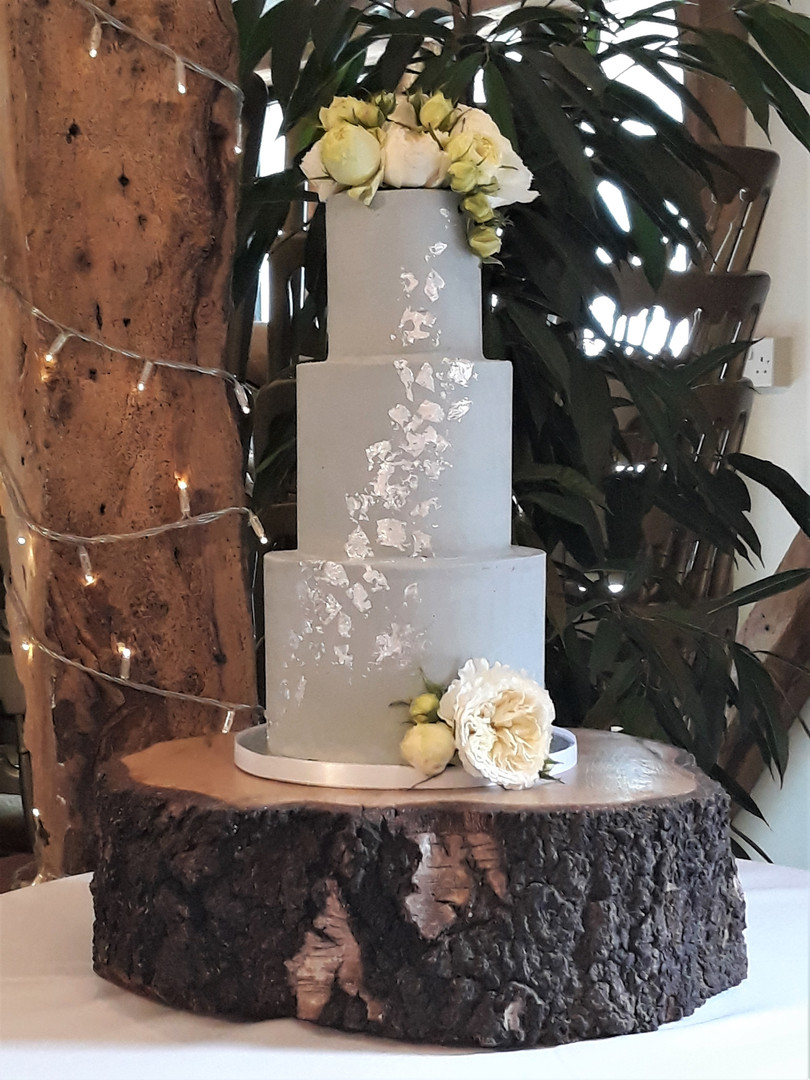 soft grey buttercream wedding cake with