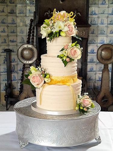 Champagne Pink Buttercream Wedding Cake