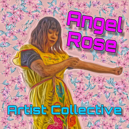 (Image description: a square graphic with a light pink background. Blue butterflies and pink flowers repeat on pink background. Superimposed Image of a golden skinned trans woman in a yellow traditional dress, posing in a bow position. Her eyes are closed. Above her to the right in dark pink reads: Angel Rose. Below her in medium blue reads: Artists Collective.)
