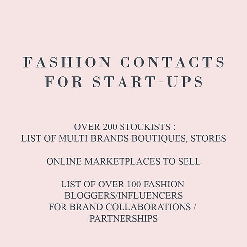 FASHION CONTACTS FOR START-UPS