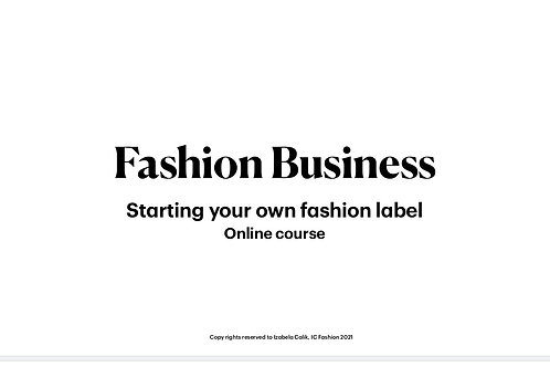 Starting your own fashion label - online course