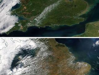Aerial images show effect of British Summer Heatwave
