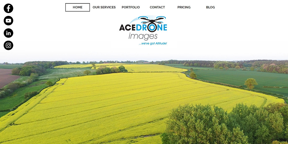 www.AceDroneImages.co.uk Homepage - Aerial view of yellow rape seed field