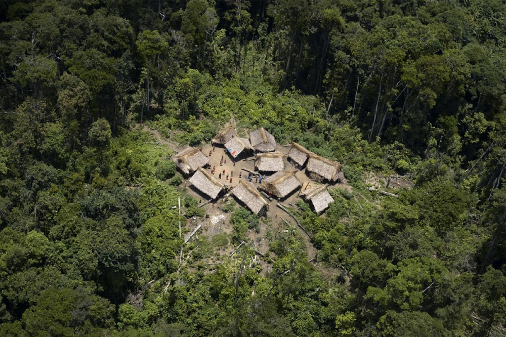 Aerial view of remote village in mosquito affected area