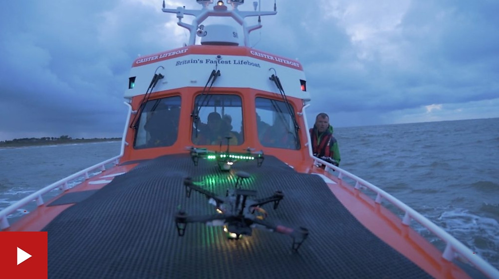 BBC image of Caister lifeboat crew trialling drones