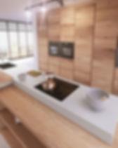 17 - Cocina Vega Roble Nudos H03 - Blanc