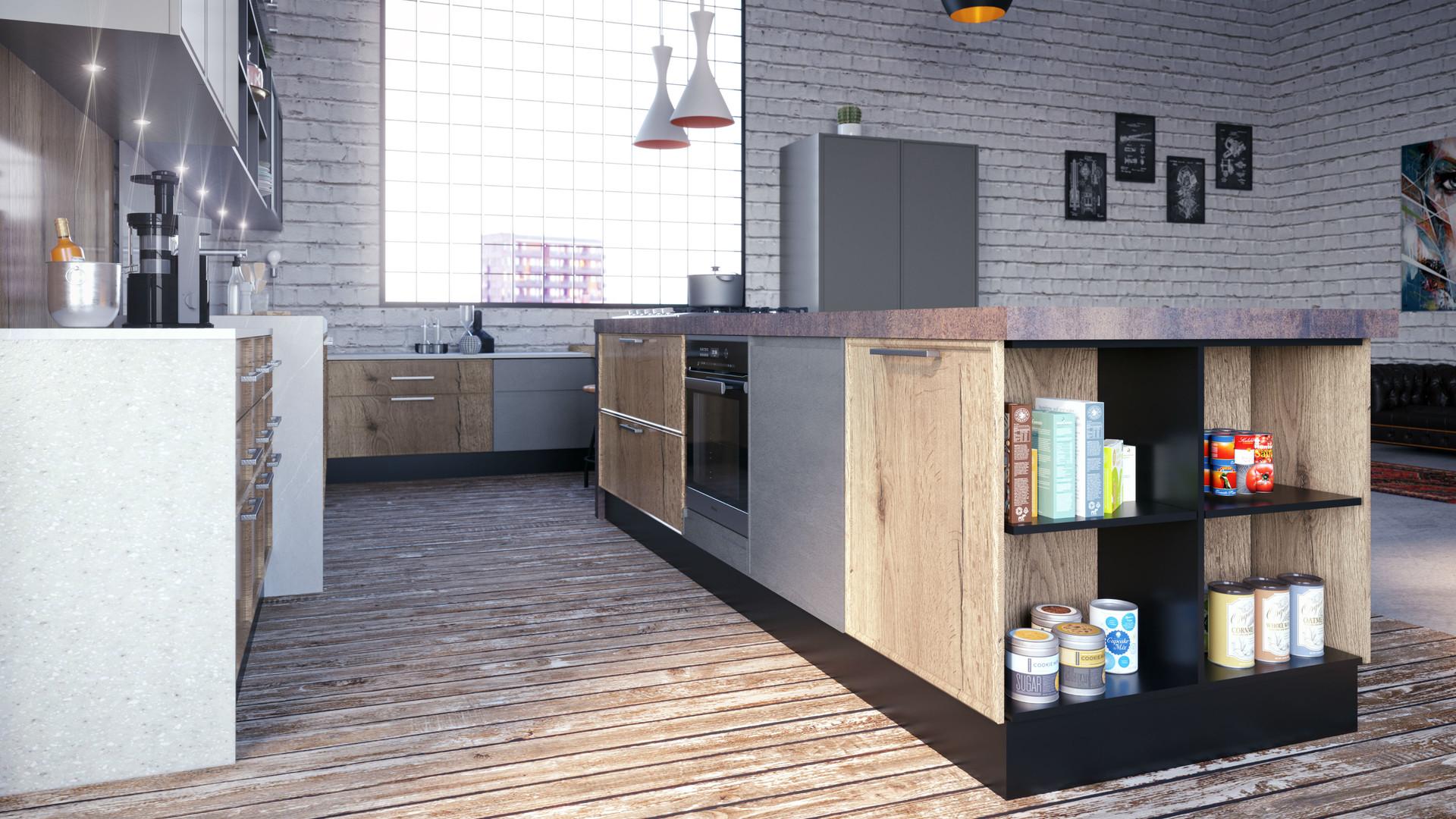 15 -Cocina Trento F87 Nudos + F80 Gris M