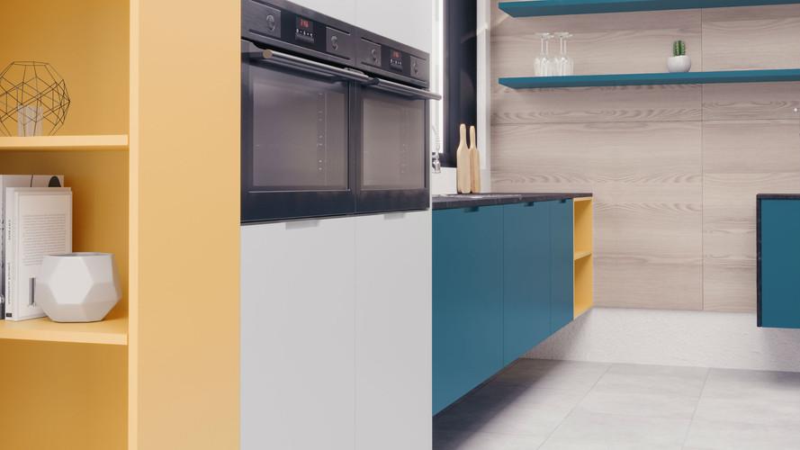 22 - Cocina Mallorca Azul Real - Gris -
