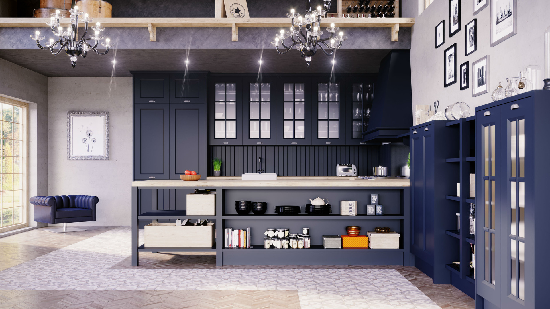 23 - Cocina Xativa Azul Oxford Vista Det