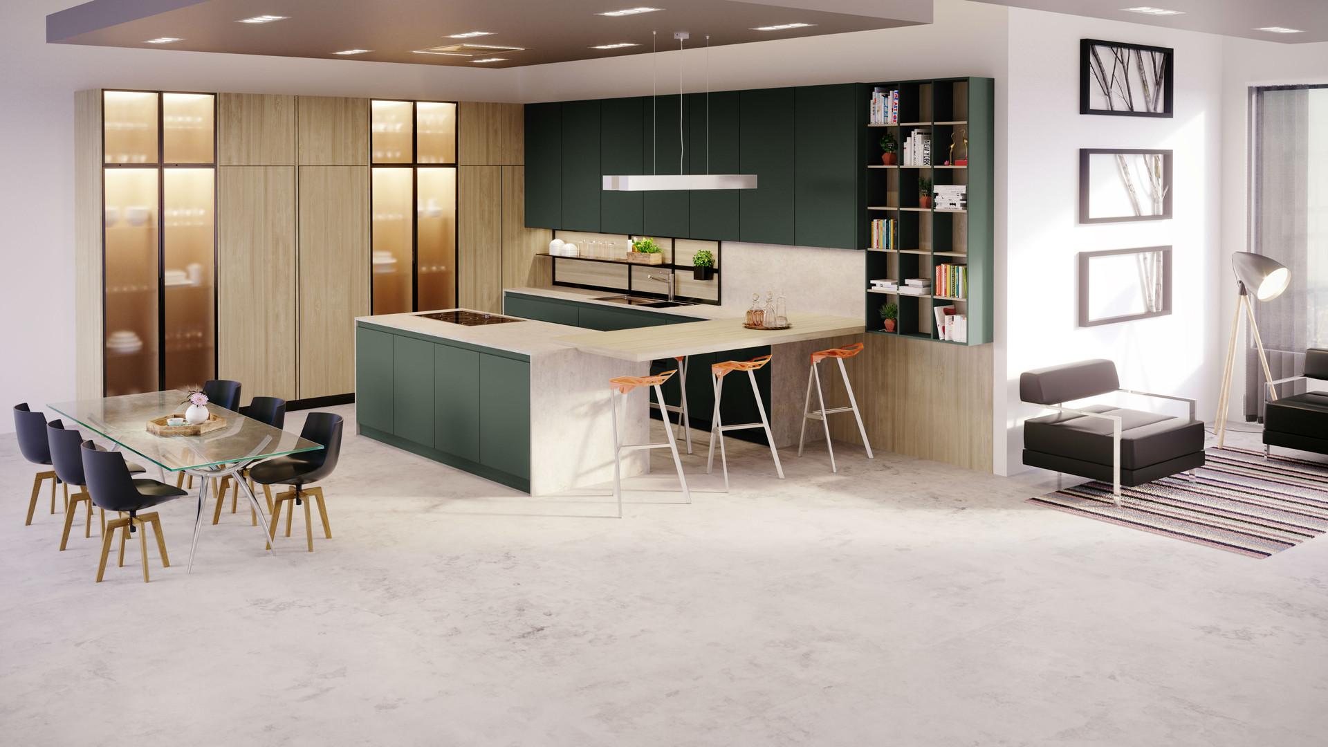 10 - Cocina Fenix Verde Comodoro + Olmo