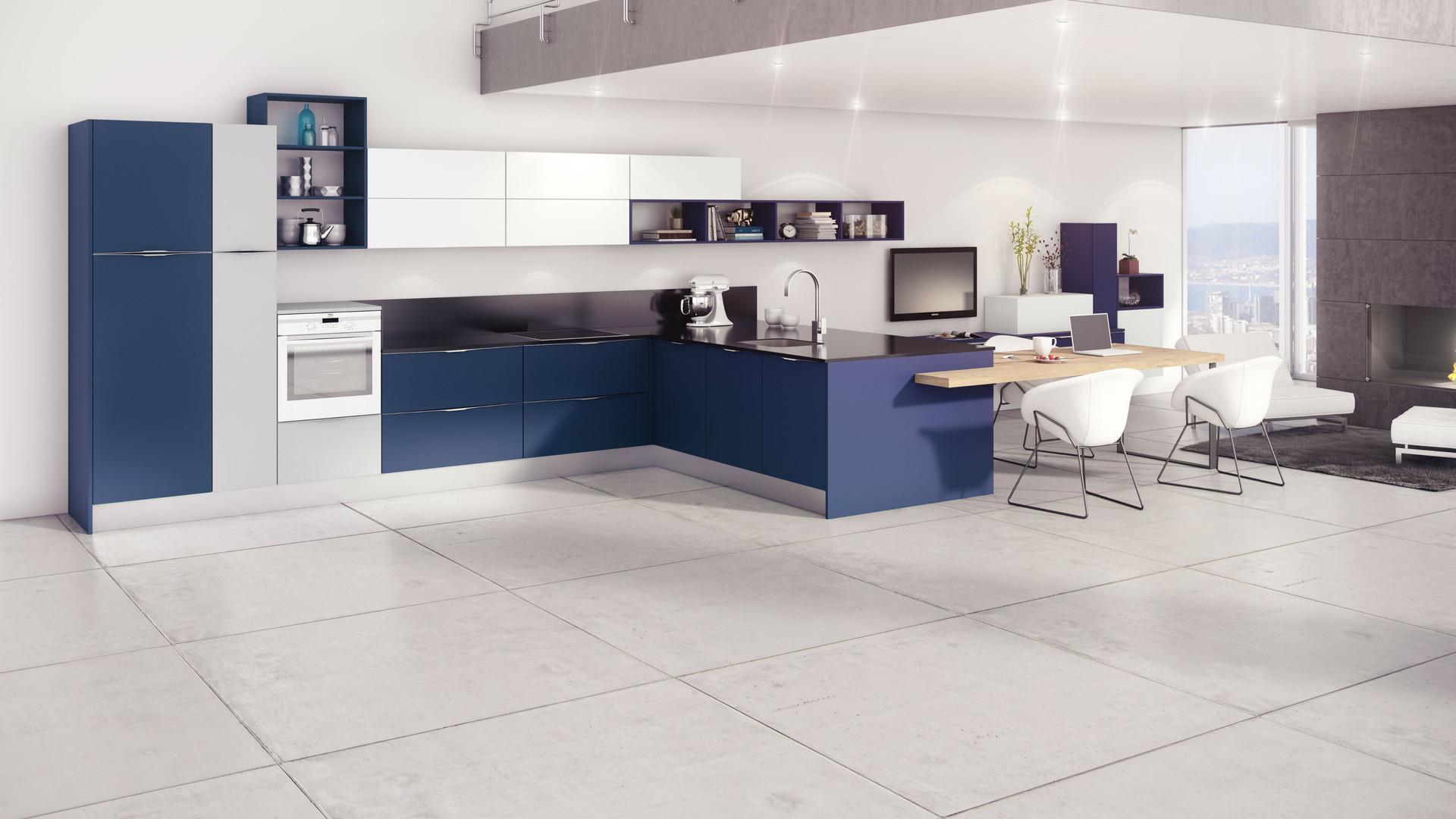 11 - Cocina Fenix Azul Noche + Gris Clar