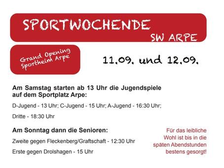 Sportwochenende 11.09. bis 12.09.