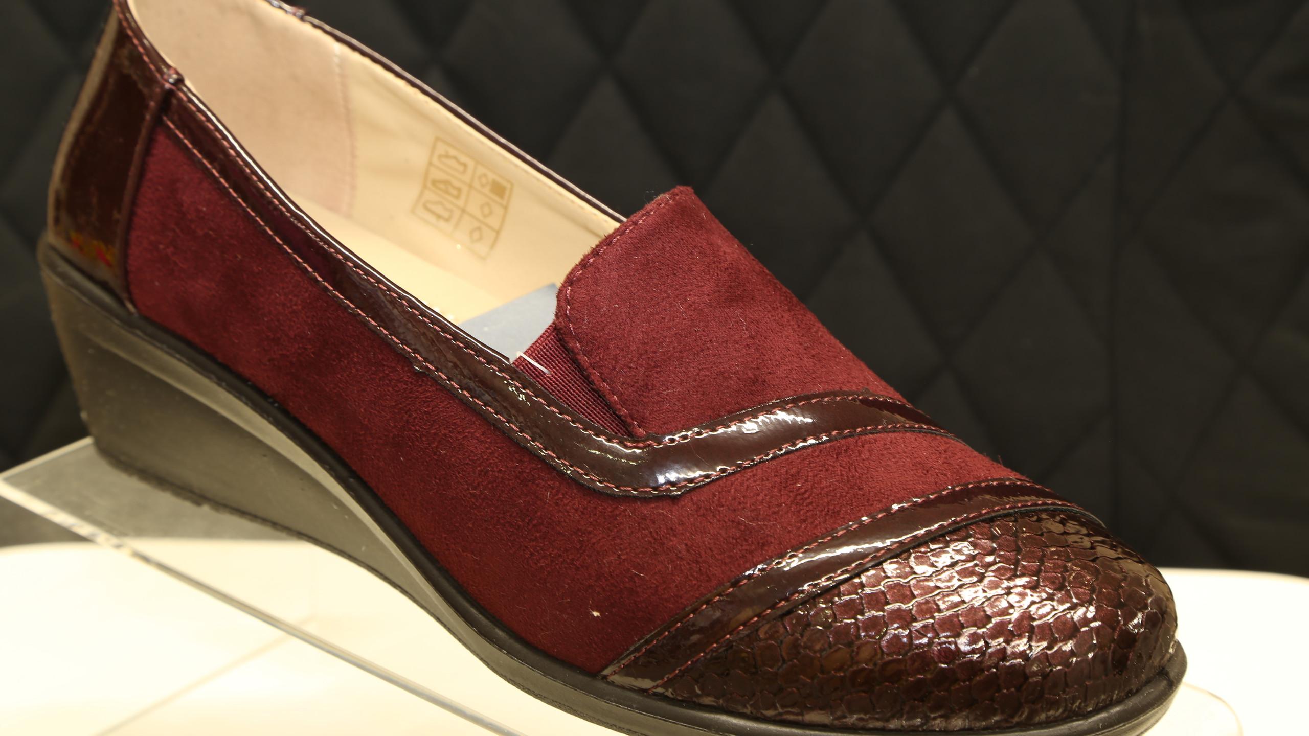 Burgundy Patent Toe Cap Shoes