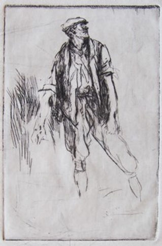 Standing farm worker in cap