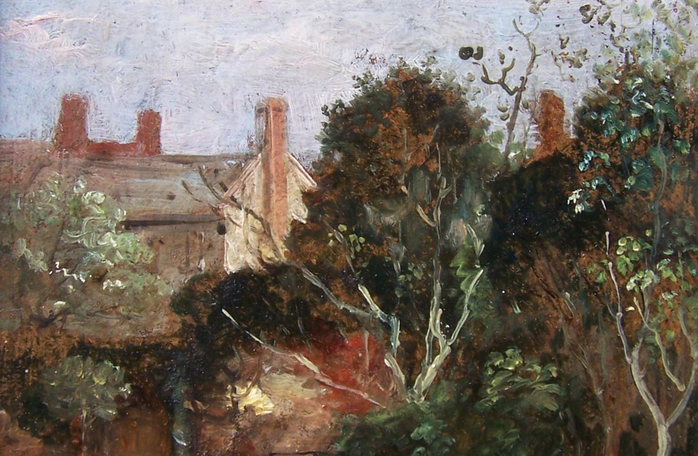 Garden Scene, possibly Cumberland Street Oil Panel by Thomas Churchyard