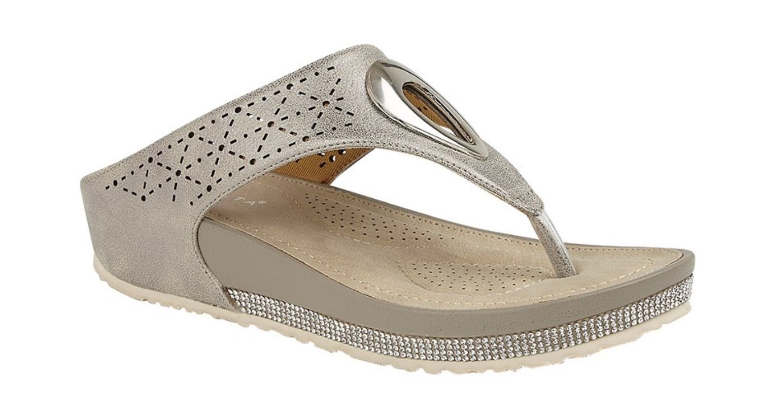 Cipriata Neutral Diamante Flip Flop