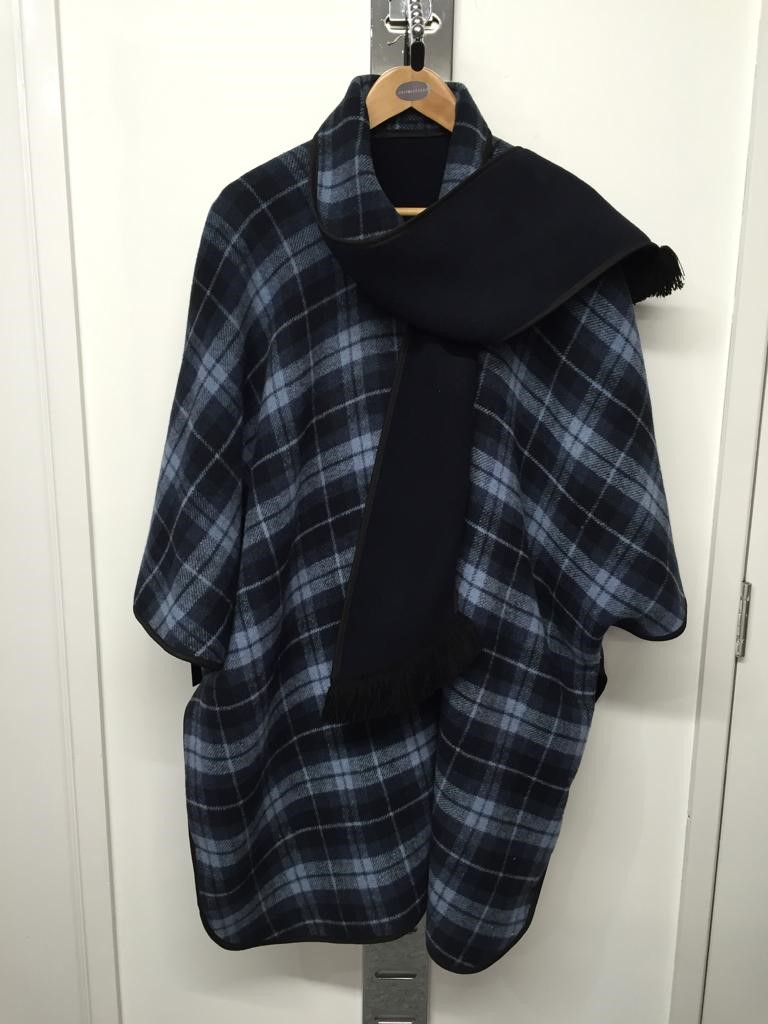Checked poncho coat
