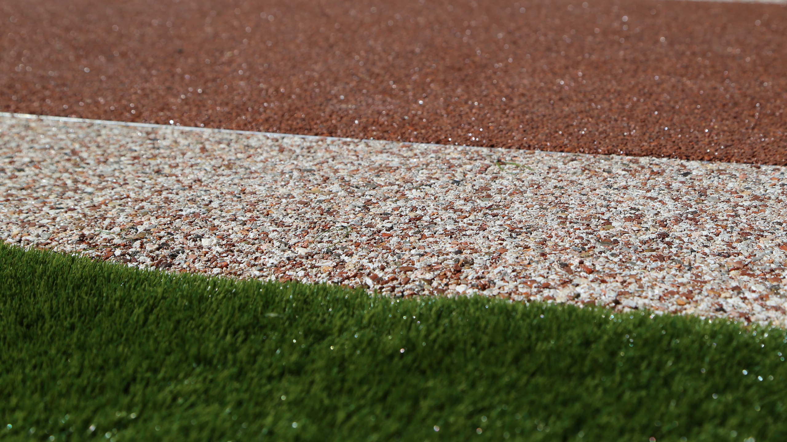 Artificial grass with resin