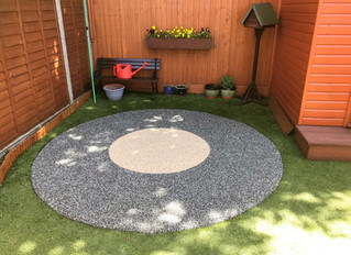 A resin patio area, hard wearing and easy maintenance