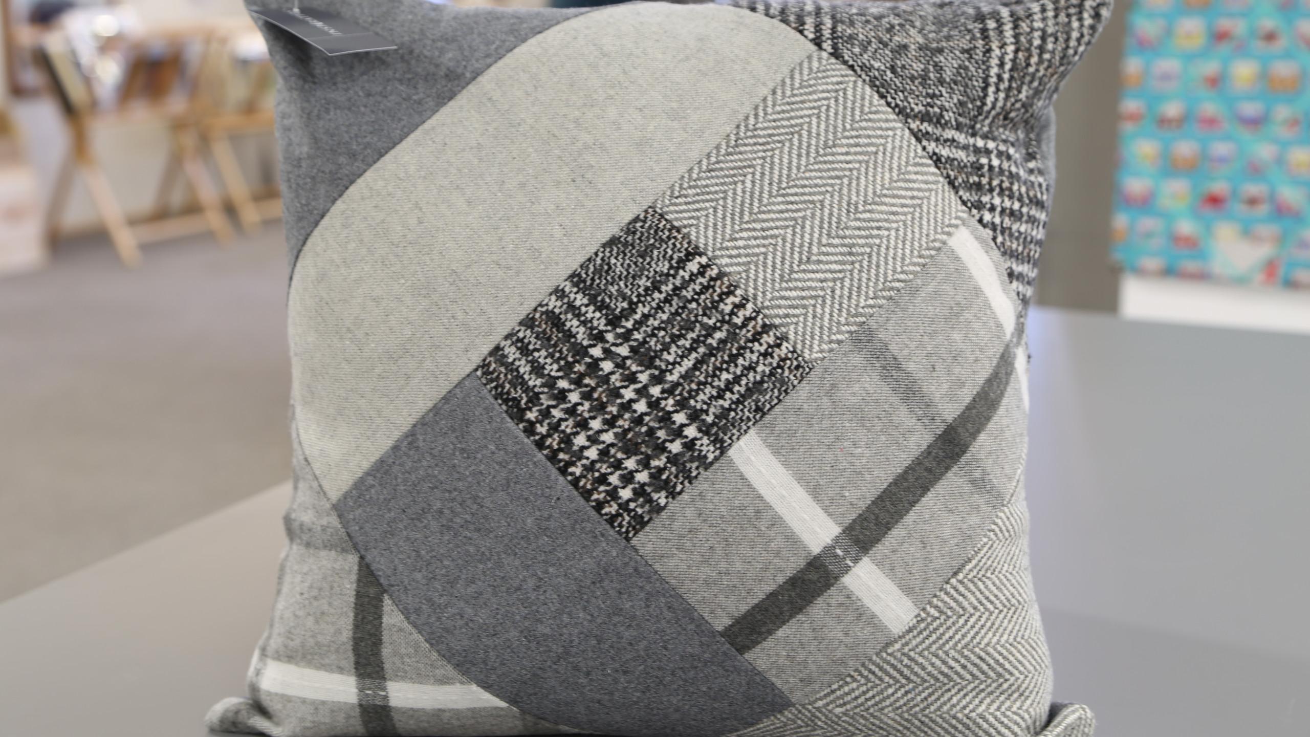 Grey patchwork cushion