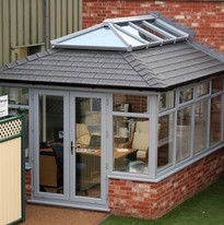 Grey Lantern roof on a conservatory