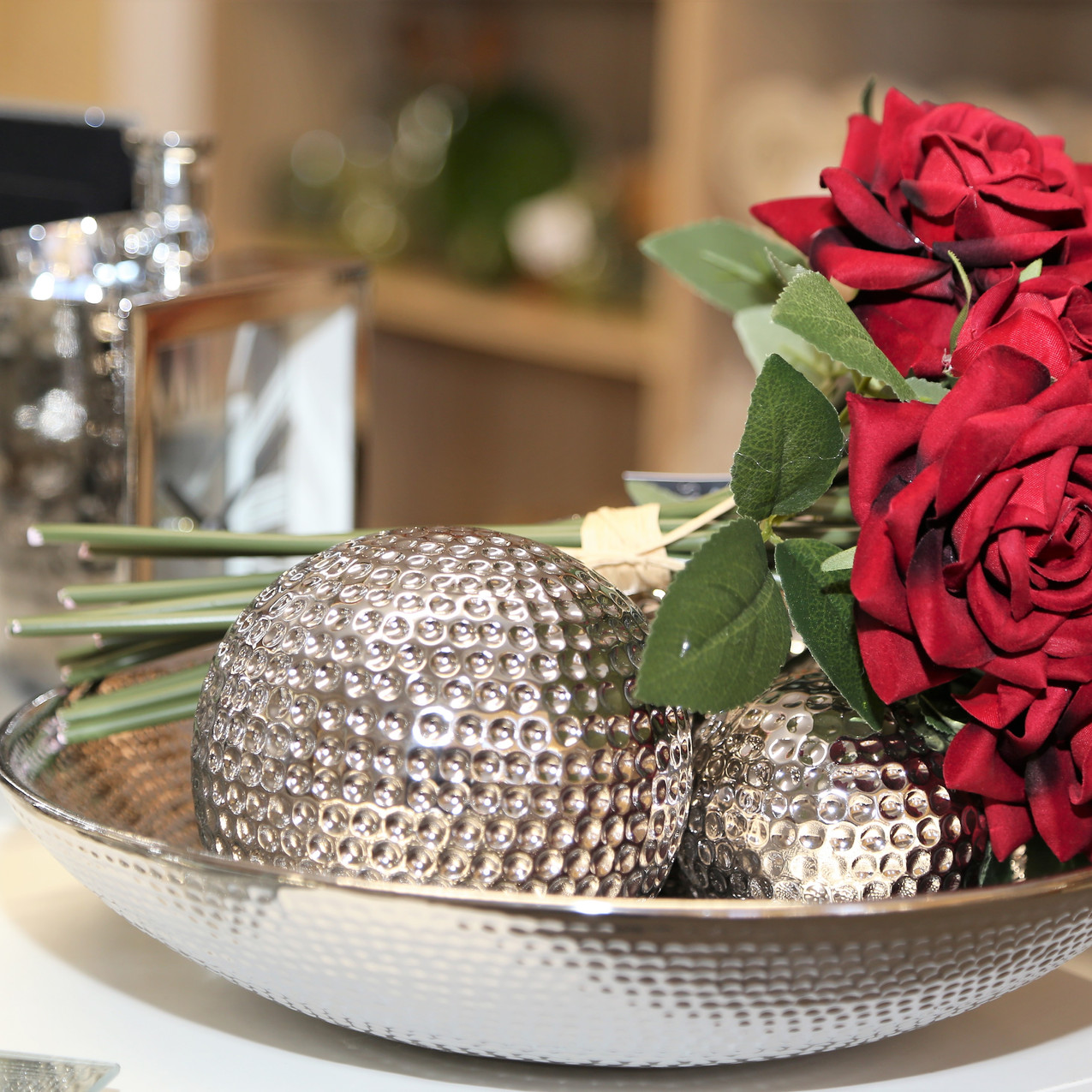 Silver metal decorations