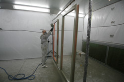 Aluminium being painted