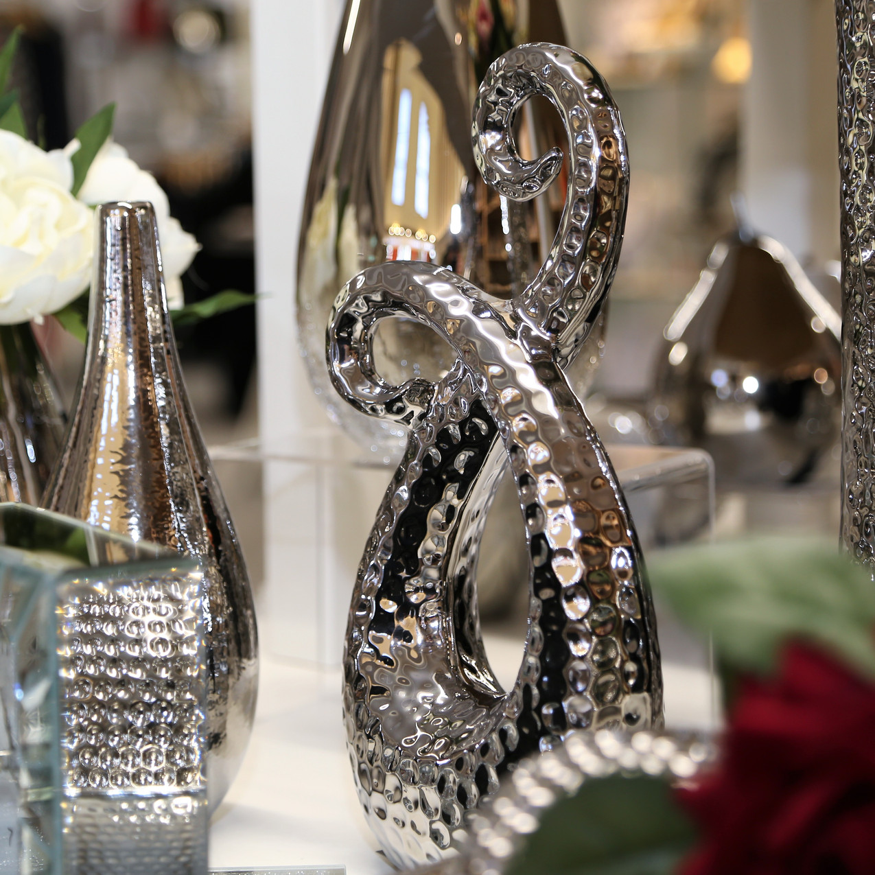 Silver coloured table decorations