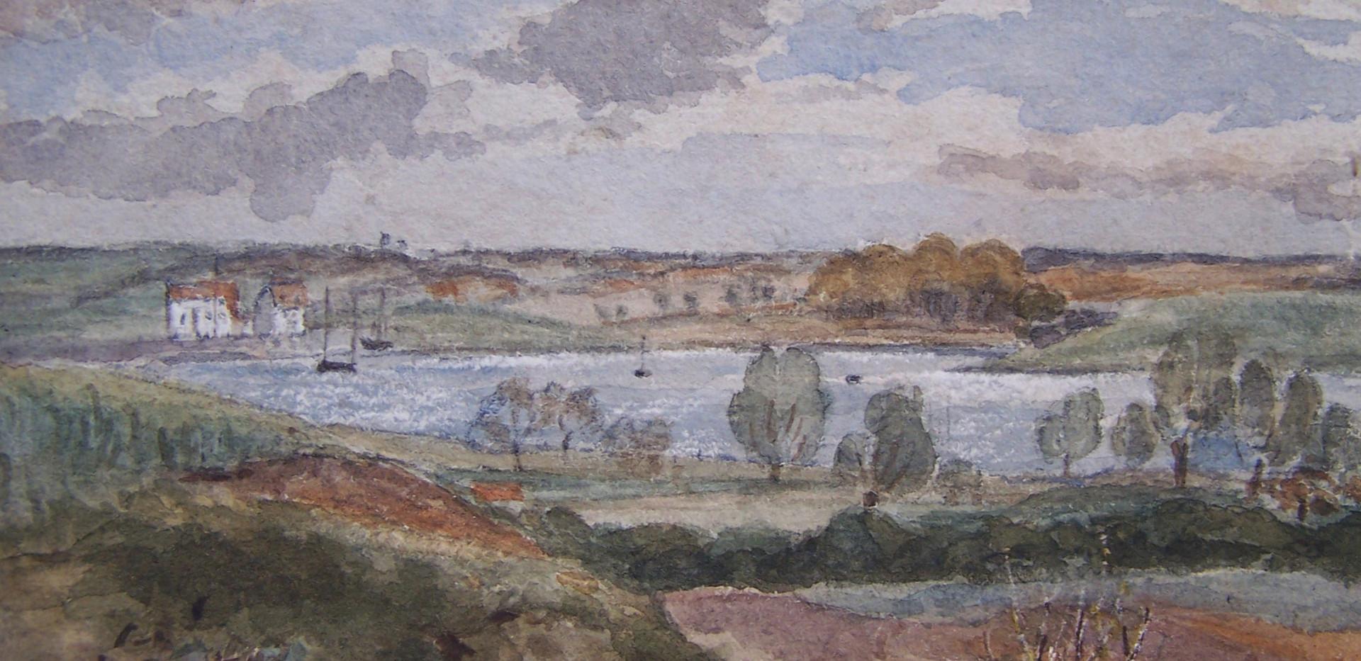 Overlooking the Deben Watercolour by Thomas Churchyard