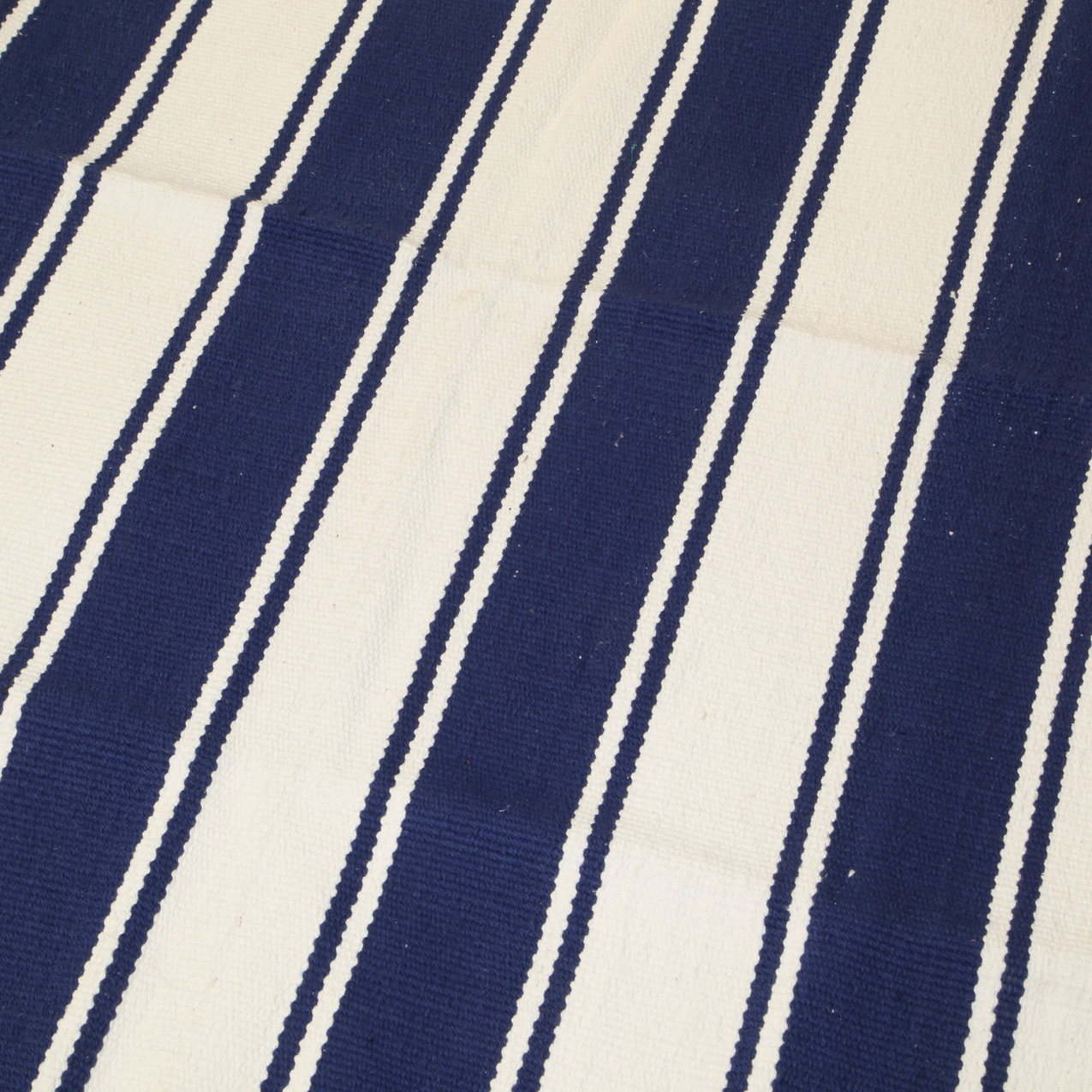 Blue and white stripped rug