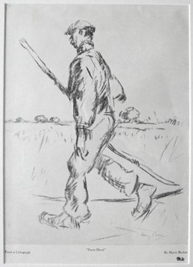 Farm hand carrying a Scythe