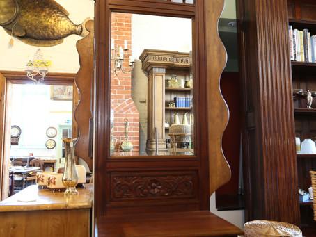 Mahogany mirrored hall stand - £85