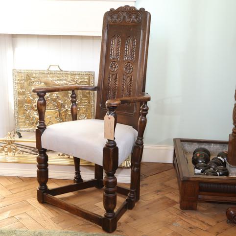 Oak Panel Back Throne Chair.JPG