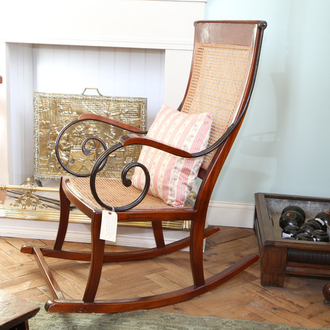 Mahogony and iron rocking chair.JPG
