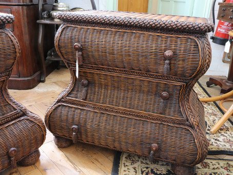 Pair of Rattan Chest of Drawers - SOLD