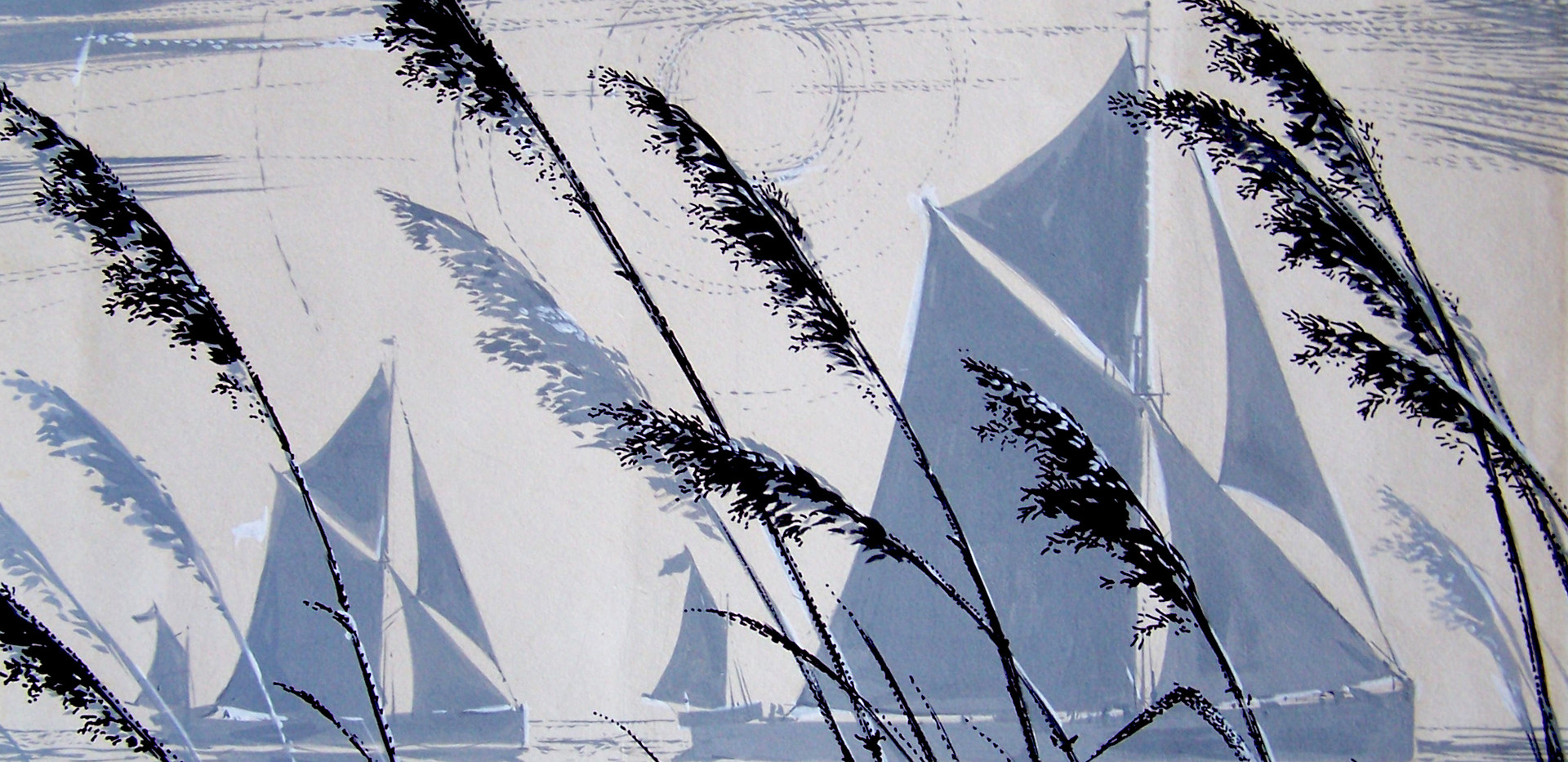 Pin MIll, Sailing Barges by Cavendish Moreton, 1960's mixed media