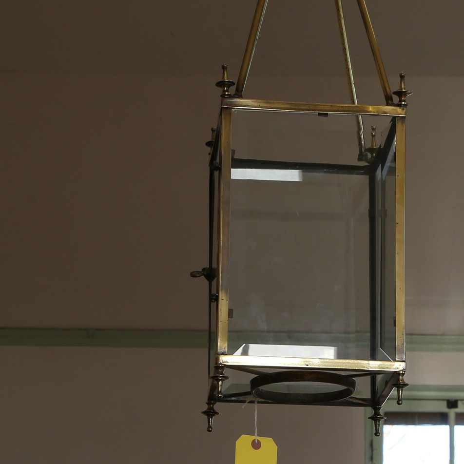 Brass and glass ceiling light