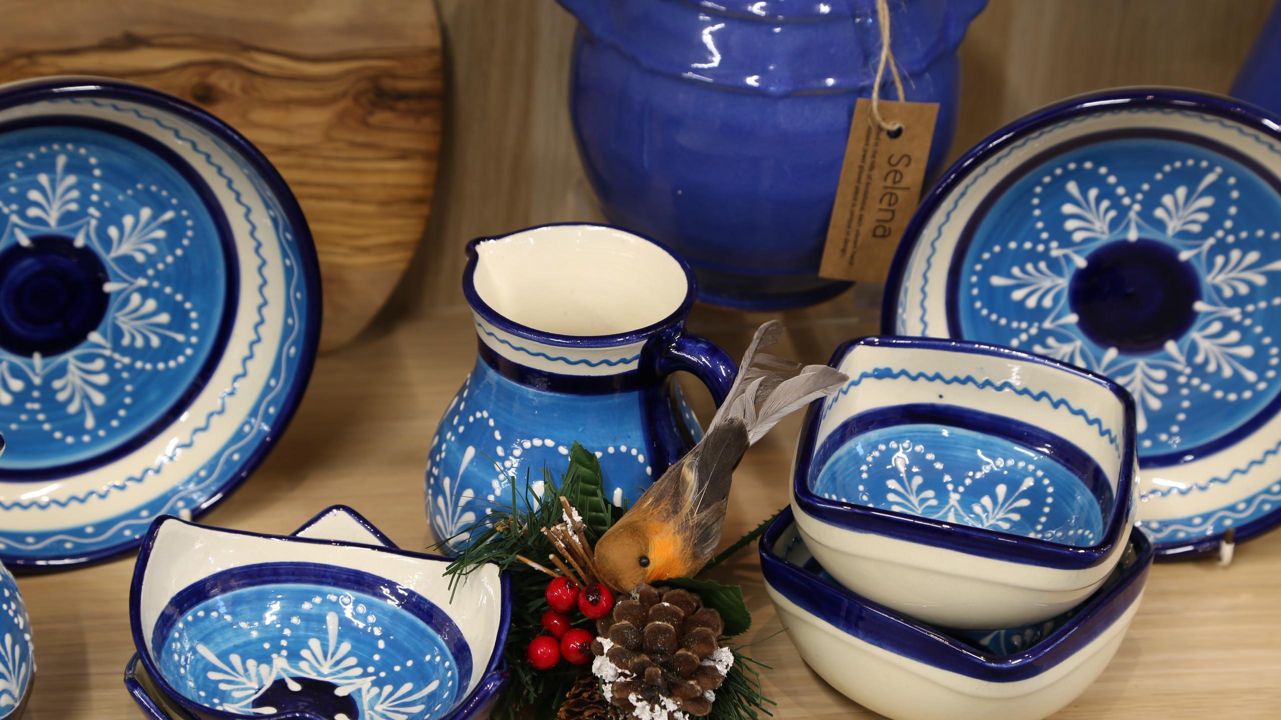 Blue patterned tableware