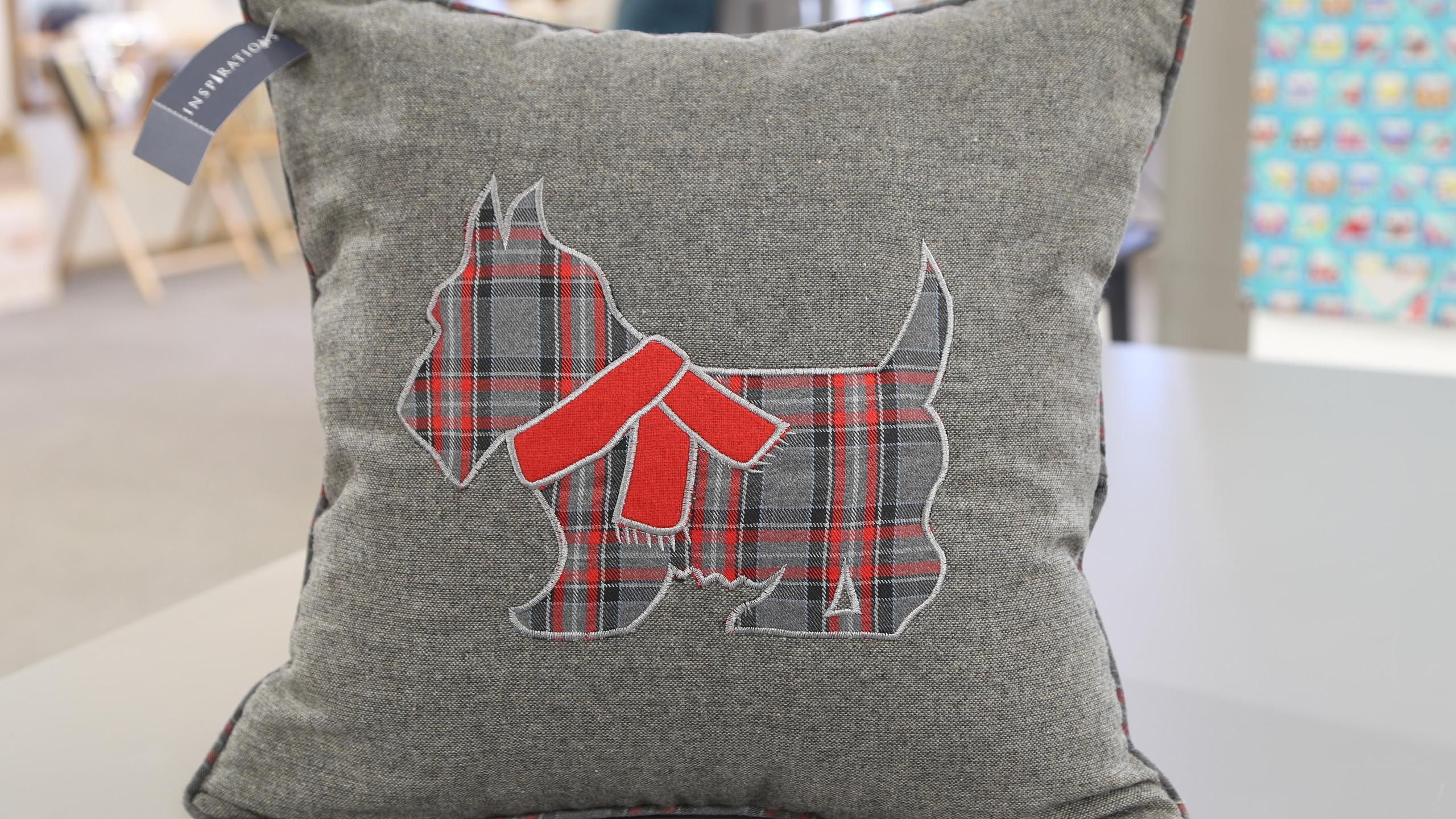 Grey Scottie cushion