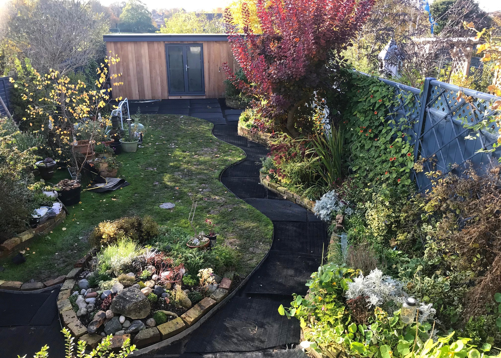 Path laid with matting