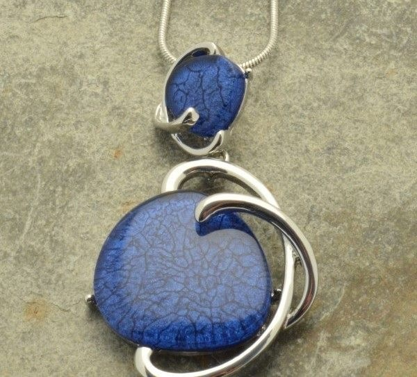 Twisted blue stone necklace